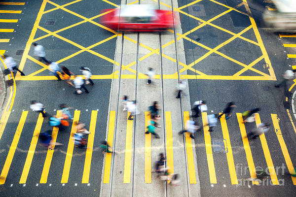 Wall Art - Photograph - High Angle View Of Street And Crossing In Hong Kong by Matteo Colombo