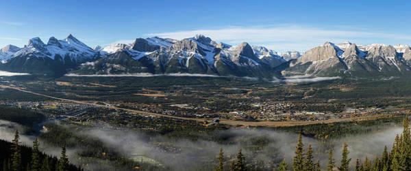 Canmore Photograph - High Angle View Of Town Of Canmore, Bow by Panoramic Images