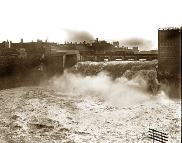 Photograph - High Falls On The Genesee River Rochester New York At Flood Stage Circa 1904 by California Views Archives Mr Pat Hathaway Archives