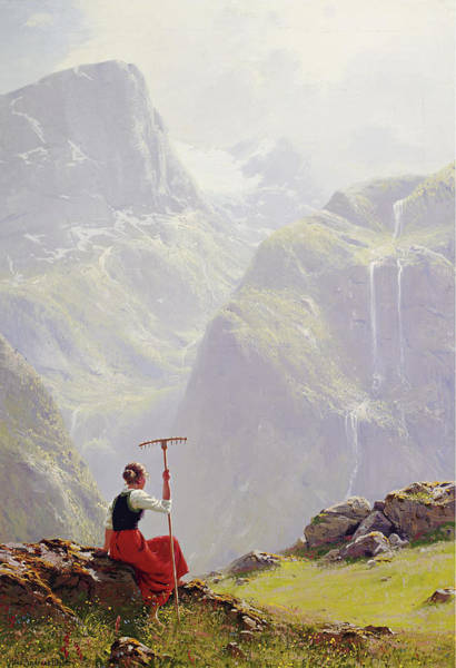 Painting - High In The Mountains by Hans Andreas Dahl