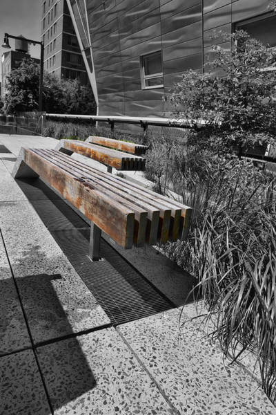 Photograph - High Line Benches Black And White by Evie Carrier