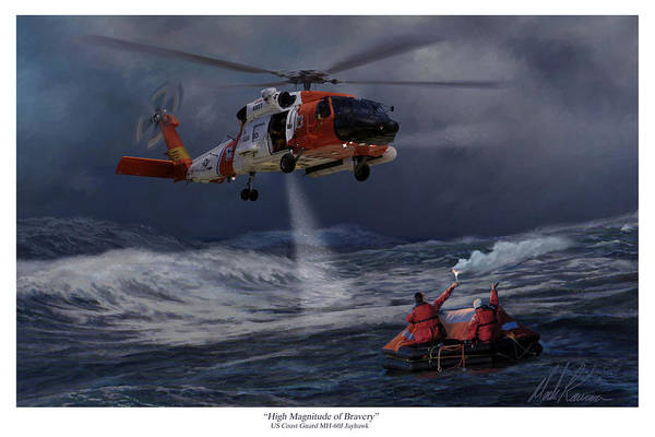 Helicopter Painting - High Magnitude Of Bravery by Mark Karvon