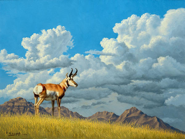 Cloudscape Wall Art - Painting - High Meadow - Pronghorn by Paul Krapf