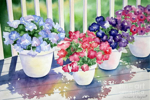 Containers Painting - High Noon Petunias by Deborah Ronglien
