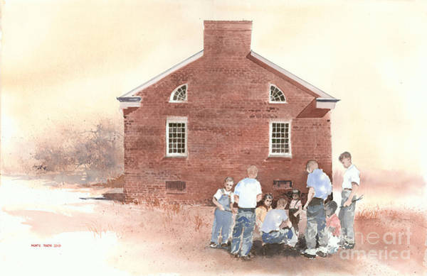 Painting - High Noon Shootout At The Tidal School  by Monte Toon