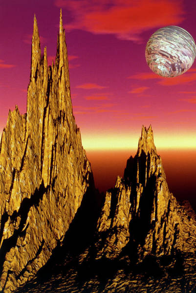 Fractal Landscape Wall Art - Photograph - High Peaks 3-d Fractal Landscape Image by Gregory Sams/science Photo Library