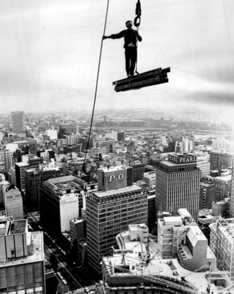 Rise Above Wall Art - Photograph - High Rise Construction Vintage Daredevil by Retro Images Archive