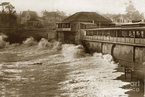 Photograph - High Tide And Big Waves At Lovers Point Beach Pacific Grove California Circa 1907 by California Views Archives Mr Pat Hathaway Archives