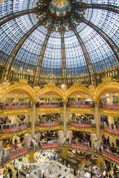 Galeries Lafayette Photograph - High View Of The Domed Central Area Of by Ian Cumming
