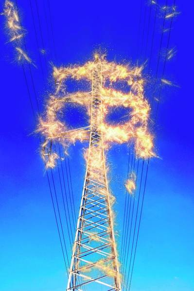 Utility Pole Photograph - High Voltage Power Lines by Photostock-israel/science Photo Library