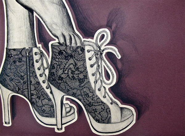 High Heels Drawing - Higher Grounds by Hillary  Dennison