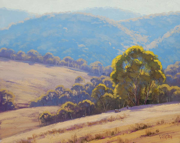 Australia Painting - Highland Grazing Lithgow by Graham Gercken