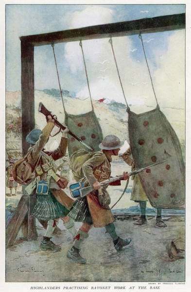 Wall Art - Drawing - Highlanders Practice Their  Bayonet Work by Mary Evans Picture Library