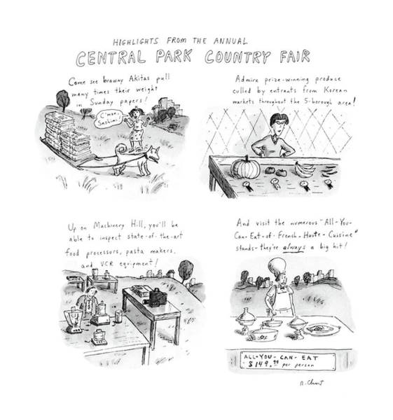 Sled Drawing - Highlights From The Annual Central Park Country by Roz Chast