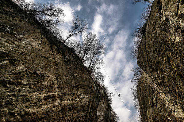 Tree Climbing Photograph - Highlining In Southern Bavaria by Nicolas Armer