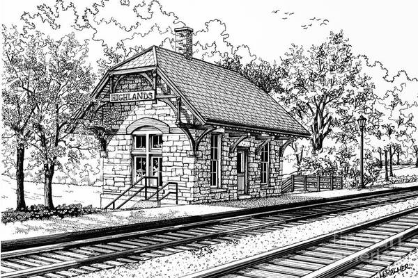 Drawing - Highlands Train Station by Mary Palmer