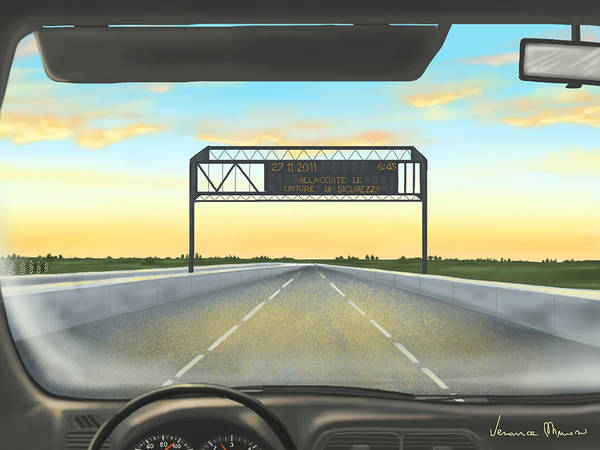 Highway Painting - Highway by Veronica Minozzi