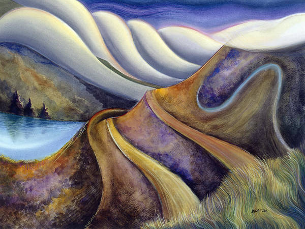 Semi Abstract Painting - Highway With Fog by Jen Norton