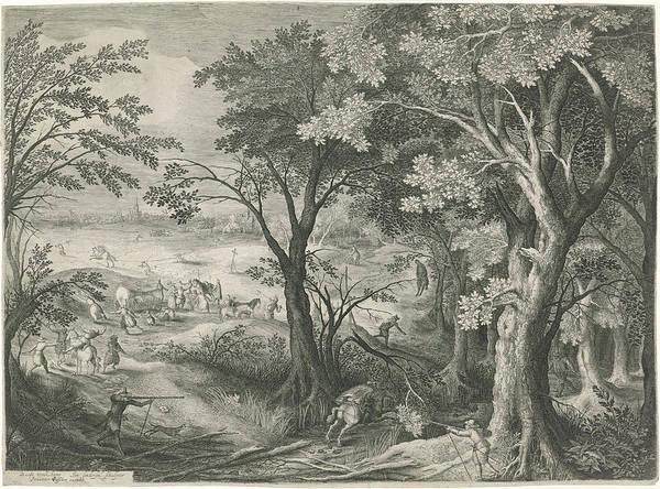 Wall Art - Drawing - Highwaymen Robbery Travelers In A Landscape by Jan Van Londerseel And Claes Jansz. Visscher (ii)