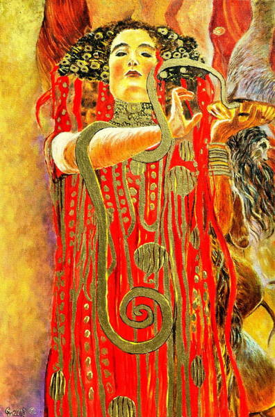 Umber Painting - Higieja-according To Gustaw Klimt by Henryk Gorecki