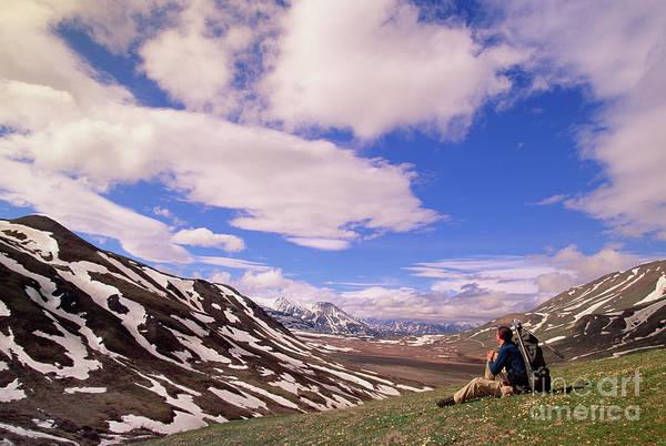 Wall Art - Photograph - Hiker And The Alaska Range Denali by Yva Momatiuk John Eastcott