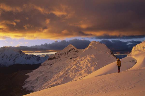 Dixon Photograph - Hiker At Sunset Chinchey Massif Peru by Grant  Dixon