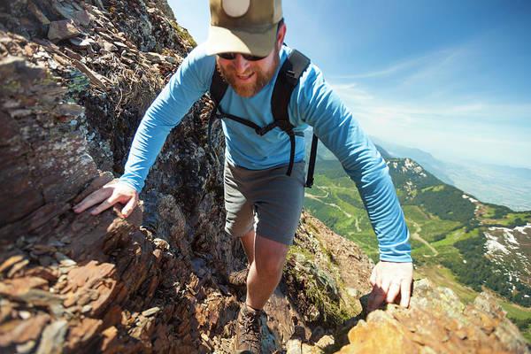 Determination Photograph - Hiker Climbing Lady Peak Mountain by Christopher Kimmel