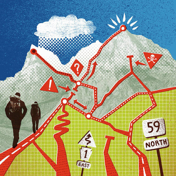 Hiking Digital Art - Hikers Ascending Mountain With Path by Lizzie Roberts