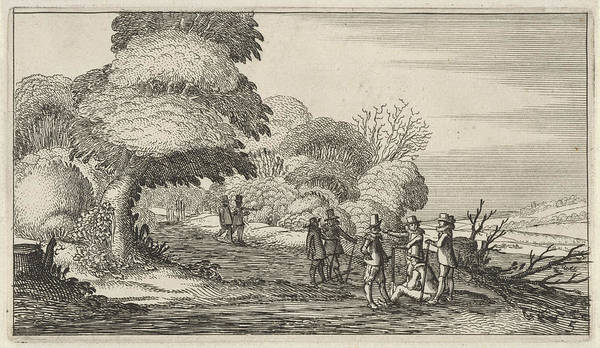 Hiking Drawing - Hikers In A Landscape, Gillis Van Scheyndel by Gillis Van Scheyndel I And Anonymous And Claes Jansz. Visscher Ii
