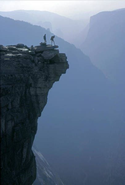Photograph - M-m6743-hikers On Half Dome's Lip by Ed  Cooper Photography