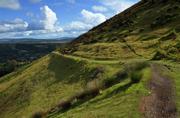 Church Stretton Photograph - Hikers On The Track Along The Side by Panoramic Images