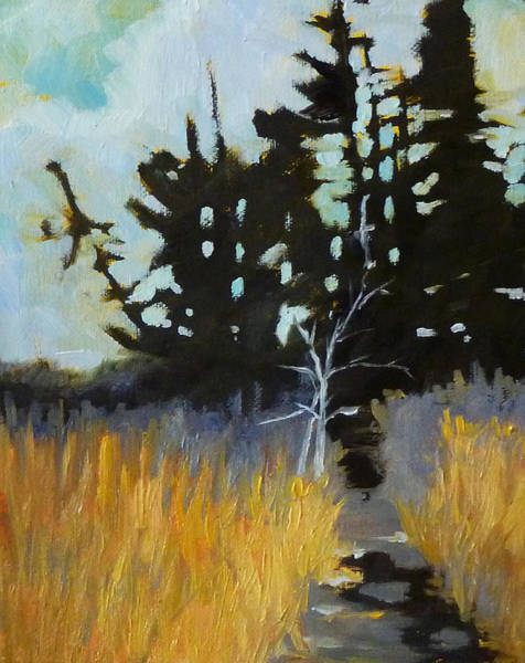 Gloomy Painting - Hiking The Winter Trail by Nancy Merkle