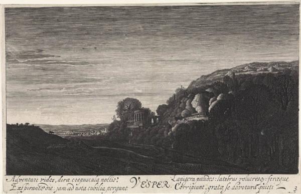 Twilight Drawing - Hill Landscape In The Evening, Jan Van De Velde II by Jan Van De Velde (ii)