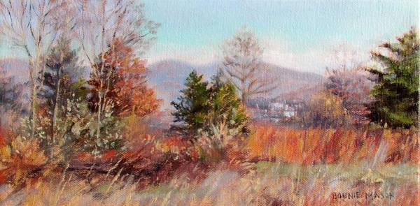Wall Art - Painting - Hill Top View- In Autumn by Bonnie Mason