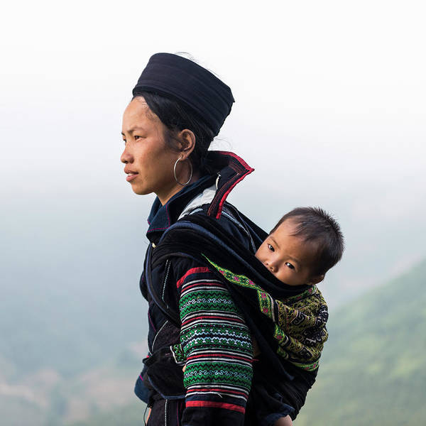 Indigenous People Photograph - Hill Tribe Woman Carrying Baby On Back by Martin Puddy