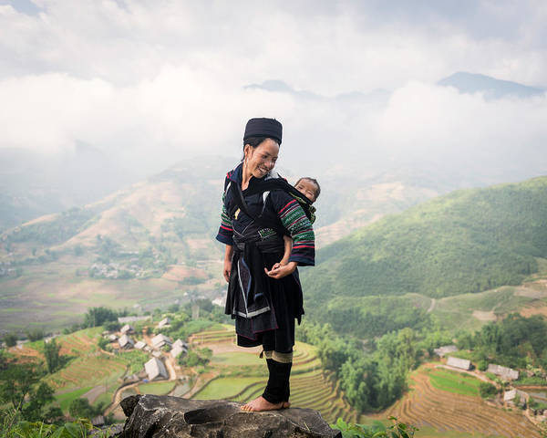 Shoulder Photograph - Hill Tribe Woman Carrying Baby On Her by Martin Puddy