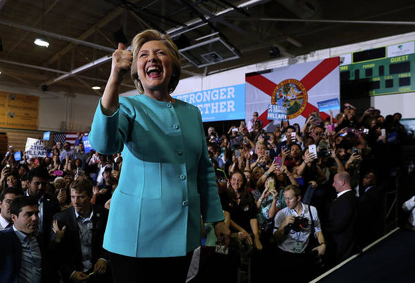 Democracy Photograph - Hillary Clinton Campaigns In Florida by Justin Sullivan