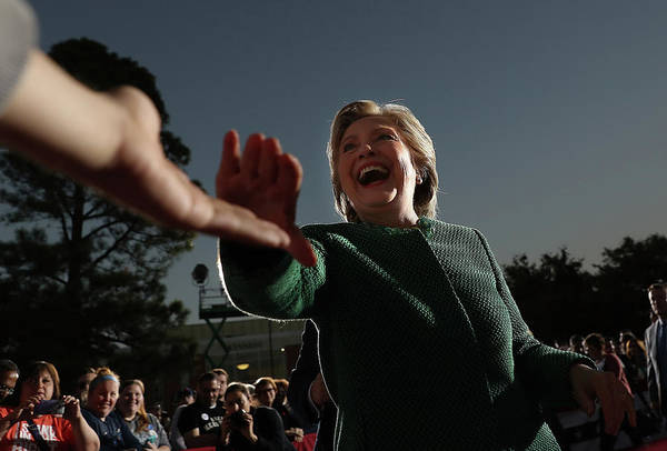 Democracy Photograph - Hillary Clinton Campaigns In North by Justin Sullivan