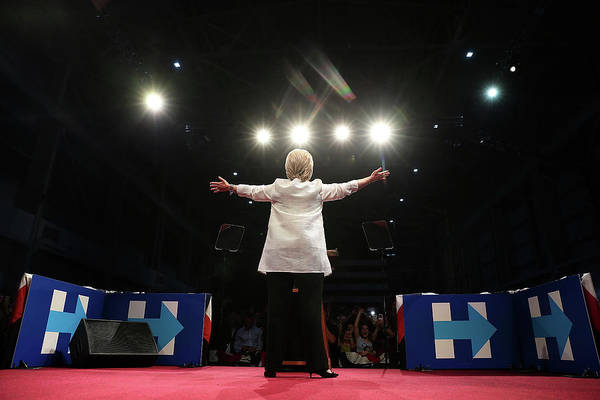 Democracy Photograph - Hillary Clinton Holds Primary Night by Justin Sullivan