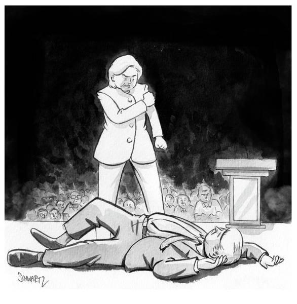 Wall Art - Drawing - Hillary Clinton Knocks Out Donald Trump by Benjamin Schwartz
