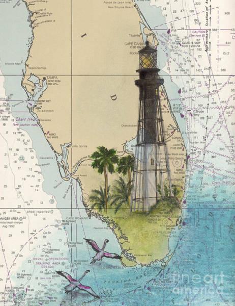 Cathy Painting - Hillsboro Inlet Lighthouse Fl Cathy Peek Nautical Chart  by Cathy Peek