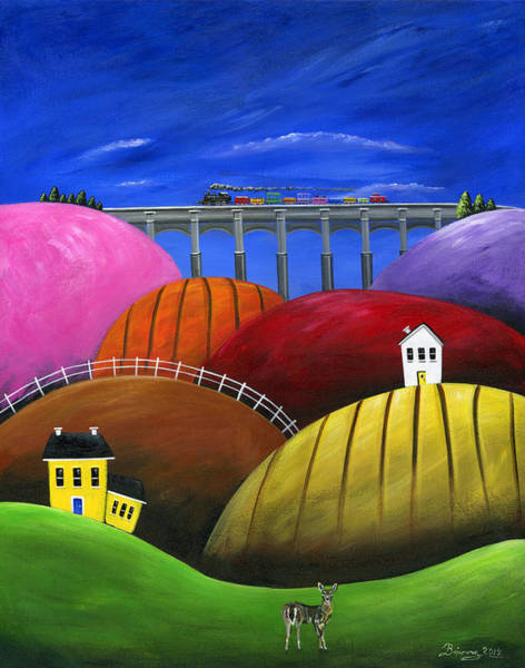 Red Caboose Painting - Hilly Hello by Brianna Mulvale
