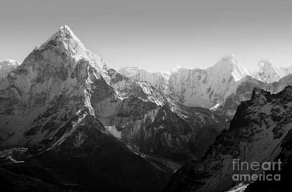 Gokyo Photograph - Himalaya Mountains Black And White by Tim Hester