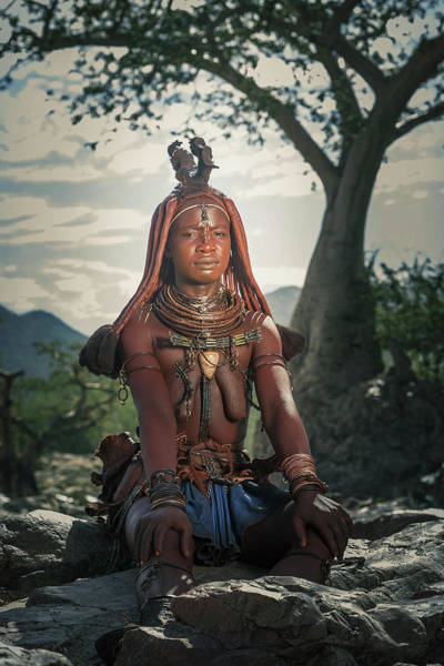 Shirtless Photograph - Himba Woman With Traditional Hair Dress by Buena Vista Images