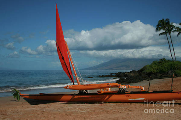 Photograph - Hina Waapea Sailing Canoe Polo Beach Wailea Maui Hawaii by Sharon Mau