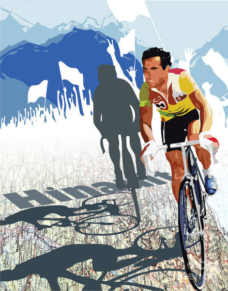 Racer Digital Art - Hinault Map Print by Sassan Filsoof