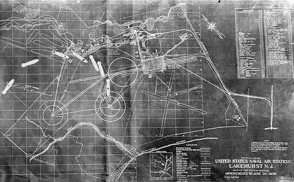 Lakehurst Photograph - Hindenburg Airship Flight Chart by Us Navy