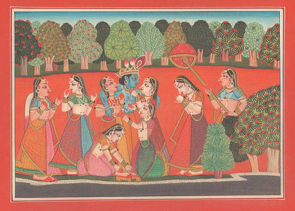 Wall Art - Painting - Hindu God Krishna Lila Gopi Divine Love Miniature Painting India Artwork Art Gallery  by A K Mundhra