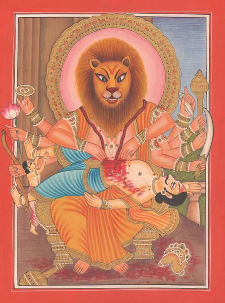 Wall Art - Painting - Hindu God Narsing Avtaar Narsimha by A K Mundhra