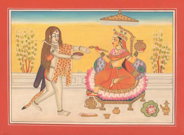 Wall Art - Painting - Hindu Goddess Annapurna God Shiva Yoga Yogi Hindu Art Gallery India by A K Mundhra
